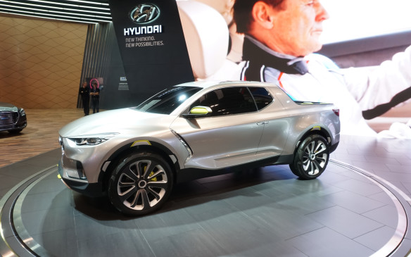 <p>We've seen the Hyundai Santa Cruz Concept before at the 2015 North American International Auto Show in Detroit, but it finally made its way onto Canadian soil in Toronto. This concept will eventually turn into a production vehicle that has a combination of a pickup truck and a compact SUV, providing typical truck and SUV cargo space with added versatility.</p>