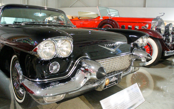 <p>Cadillac seemed to be the dominant marque in terms of numbers during our visit, with such jewels as this 1957 Eldorado Brougham on display. Behind it is a 1931 Cadillac V-16 Dual-Cowl Phaeton.</p>