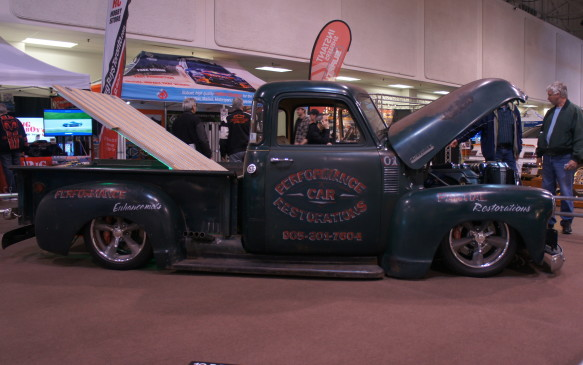 <p>This 1953 Chevy 3100 pickup stands out in the crowd of gleaming custom paint and polished chrome. Its body has a natural patina finish – a look that was found on several vehicles on the show floor.</p>
