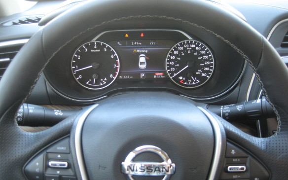 <p>A seven-inch display nestled between the tachometer and speedometer in front of the driver not only relays pertinent information about the vehicle, but displays navigation information that can be shifted from the main console screen with a swipe of a finger.</p>
