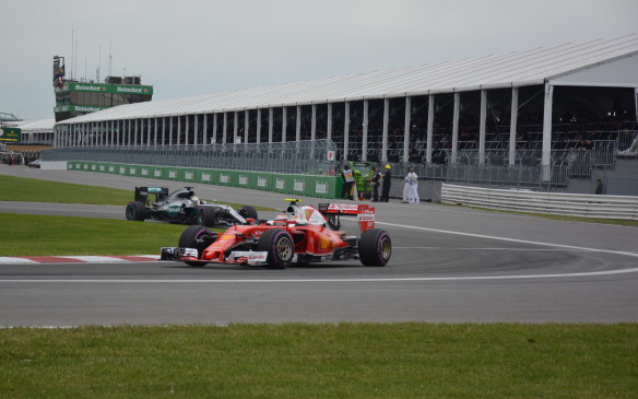 <p>More surprisingly, especially to Hamilton, Vettel passed him on the outside in the first turn and pulled out a substantial lead until he made his first pit stop for fresh tires.</p>