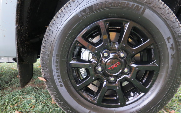 "<p>They also get unique rolling stock with special tires. The Tacoma rides on black 16-inch alloys wrapped in Kevlar-reinforced P265/70R16 Goodyear All-Terrain Wranglers. The 4Runner runs on 31.5"" Nitto Terra Grappler all-terrain tires mounted on 17"" matte black aluminum wheels. The Tundra rolls on 18-inch black alloy wheels.</p>"