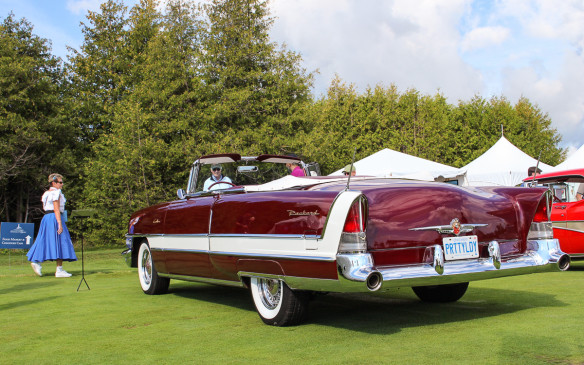 <p>From the same era, this immaculate 1955 Packard Caribbean convertible represented the near-end of that illustrious marque's luxury car stature. (That lady did get around.)</p> <p><strong></strong></p>