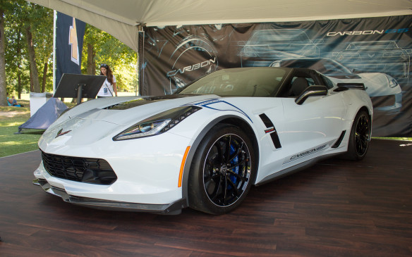 <p>Included in the Chevrolet display was this 2018 Corvette Carbon 65 Edition, designed to commemorate the 65th anniversary of America's sports car. Limited to production of just 650 numbered vehicles globally and fitted with visible carbon-fiber exterior elements, including a new carbon-fiber rear spoiler and quarter ducts, it promises to become a collector car itself.</p>