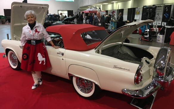<p>Shirley Mailloux poses beside this completely restored 1956 Ford Thunderbird co-owned with her husband Kenneth. The Comber, ON., couple has received 53 awards for their pristine T-bird since its restoration in 2011.</p>