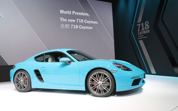 <p>Porsche also debuted the new 718 Cayman, though it was no surprise. It's mechanically identical to the 718 Boxster that's already been revealed and driven by media.</p>