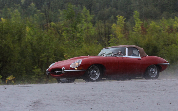 <p>The day before the Concours, , in spite of pouring rain, several of the entries plus a few other collector cars took part in a driving Tour of the area organized for them. This Jaguar XKE was one of those that braved the conditions, Lucas electrics be damned!</p>