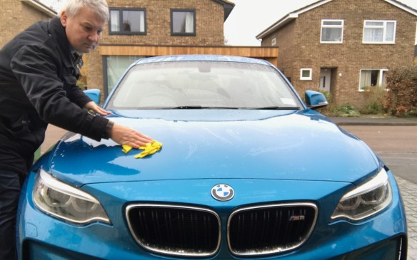 <p>A car as beautifully shaped as the M2 is actually very satisfying to clean. Taking some time with soapy water, a soft cloth and a chamois really lets you appreciate the lines of the car.</p>