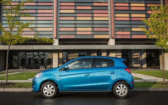 <p><strong>2015 Mitsubishi Mirage ES</strong></p> <p>MSRP: $12,498</p> <p>In the quest for bargains, Mitsubishi offers the no-nonsense Mirage. In basic ES form there are black-painted trim pieces and 14-inch steel wheels, but there are power mirrors and front windows. Things like air conditioning, Bluetooth hands-free, keyless entry and four power windows add another $1,300 to the price. The 1.2-litre three-cylinder engine offers only 74 horsepower, so going anywhere quickly takes some effort, although the five-speed manual transmission is easy to operate. The optional CVT is both quicker and thriftier for a $1,200 premium.</p>