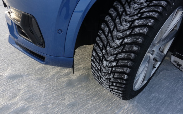 <p>As any engineer will tell you, tires have virtually no grip on glare ice. So, to make the driving exercises on Lake Ånnsjön feasible and meaningful in the least – amazing fun too – Volvo put all of its vehicles on top-notch Nokian Hakkapeliitta winter tires sprinkled with a few hundred studs. These were a mere 1.2 mm in size, less than the 1.5 mm studs used by Porsche for the first stage of its Camp4 winter driving program in Canada. The photo also shows the thousands of streaks carved by the studs on the ice surface of the longest sweeper.</p>