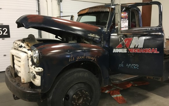 "<p>The patina finish on this 1954 GMC 9100 truck is ""good enough.""</p>"