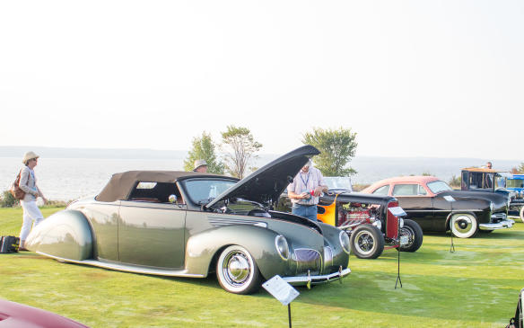 <p>The winning car in the Hot Rod class was this highly modified 1938 Lincoln Zephyr convertible, which started life as a coupe.</p>