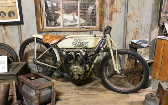 <p>This 1913 Thor SR1 board racer is the only example known to exist. Thor's racing success inspired Harley-Davidson to start its own team. The bike's 1000 cc V-Twin made only 7 hp, but it was still very fast – and dangerous – once it built speed.</p>