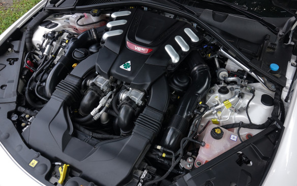 <p>The Quadrifoglio's 2.9-litre, 90-degree V-6 engine, force-fed by two variable-boost turbochargers, delivers 505 peak horsepower at 6,500 rpm and 443 lb-ft of torque already at 2,500 rpm. It's good for a measured 0-100 km/h sprint in 4.3 seconds and a 12.3-second 1/4 mile, with a peak of 190.8 km/h. This engine essentially is three-quarters of a Ferrari V-8, and it has the fabulous sound to prove it. Traction is also excellent with the twin-clutch rear differential and the stout eight-speed gearbox is exceptionally quick for a pure automatic. The carbon fibre driveshaft, standard on all Giulia models, helps too.</p>
