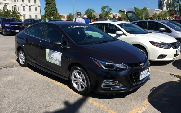 <p>The 2016 Chevrolet Cruze participating in EcoRun was powered by a new 1.4-litre direct-injected four-cylinder turbocharged engine with an automatic stop/start feature to help improve its fuel efficiency. The engine automatically shuts down when the car comes to a stop under certain driving conditions, then restarts when the driver takes his/her foot off the brake. The transmission in this compact sedan, which lists at $26,485 as tested, was a CVT (continuously variable transmission.) NRCan rates the Cruze at 7.8 L/100 km city, 5.6 highway and 6.8 combined. Actual fuel consumption during EcoRun was 4.9.</p>