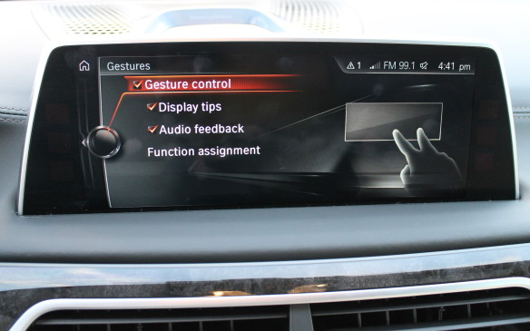 <p><strong></strong>For a start, it's the only car that allows you to change the volume of the audio system by just pointing at it. A camera beneath the rear-view mirror watches the pre-programmed gestures of your hand near the screen and reacts to them.</p>