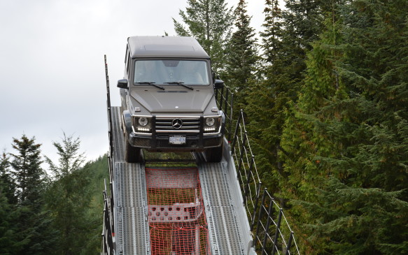 <p>As part of the experience, Mercedes-Benz brought in what they call the Iron-Schöckl. We all got our turn to hop in a G 550 for this demonstration. It's a man-made iron seesaw that showcases the vehicle's balancing skills as it ascends and descends this enormous structure with grace.</p>