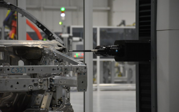 <p>There are 28 data points monitored by the Coordinate Measuring Machine (CMM). Its job is to measure data on the accuracy of its weld components, whether it's the floor, door, hood, or space frame – and it maintains accuracy to one-third of a hair breadth.</p>