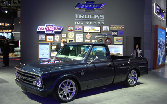 """<p>Chevrolet has an """"old vs new"""" perspective on its trucks on display at NAIAS, and a great display of model trucks with a wall of plaques, trophies and awards to go along with it. Wonderful if you're a truck enthusiast!</p>"""