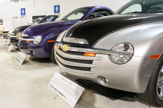 <p>Another unique model in the Chevrolet lineup was the SSR – a retro-styled pickup truck with a retractable hardtop roof. It was introduced as a concept vehicle, seen here in the foreground, in 2000 and morphed into a series of production models, behind, from 2003 to 2006.</p>