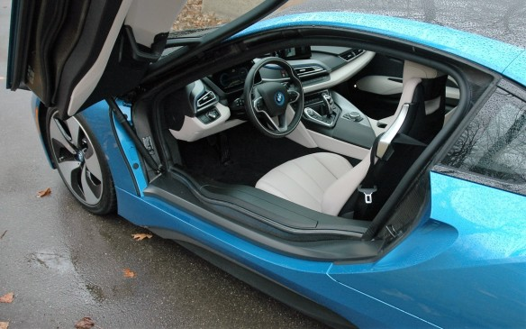 <p>But getting in an out is an inelegant affair, as the door sills are higher than the seats. Recommended entry procedure is to insert posterior first, then swing in your legs. If you wear a skirt or a dress, you may not want to arrive at the Oscars in an i8.</p>