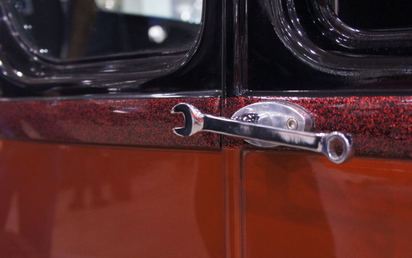 <p>Door handles created from wrenches add a unique touch to this hand-built hot rod.</p>