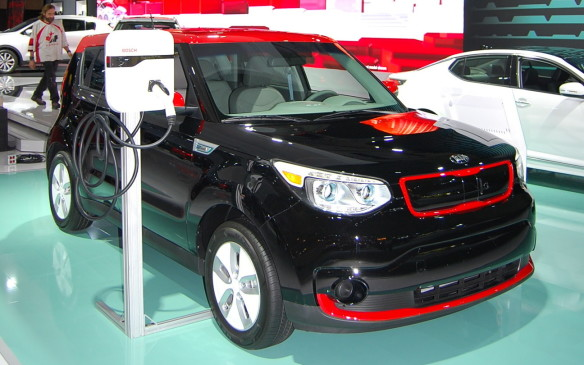 <p>This 2016 Kia Soul EV is displayed to show how it recharges at home. If you are looking for alternative options to fossil-fueled vehicles, there are many manufacturers with displays like this one to show you where the industry is headed.</p>