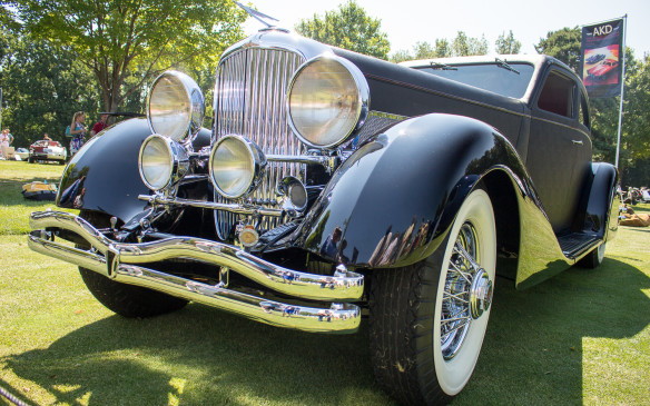 "<p>While many such shows are fortunate to have even one Duesenberg Model J on the field, there were at least nine at St. John's, including this one-off 1937 SJ Airflow ""Mudd Coupe,"" with fabric-covered body by Bohman and Schwartz – part of the Kellers' collection.</p>"