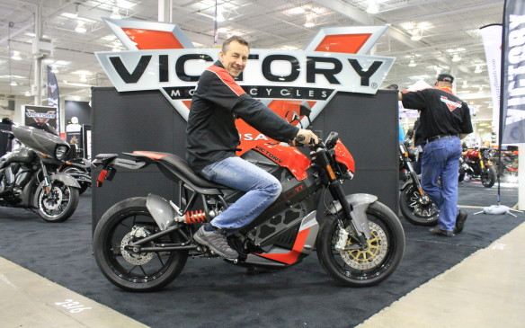 <p>The new Victory Empulse is also unexpected – it's a totally electric, $23,000 motorcycle, and salesperson Mike Magee of Peak Powersports in Oakville spent a lot of time talking about it with potential customers.</p>