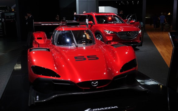 <p>Family traits become obvious when Mazda's new RT24-P race car and its revamped 2017 CX-5 compact SUV are shown in the same frame: first and foremost: the signature Kodo-style grille.</p>