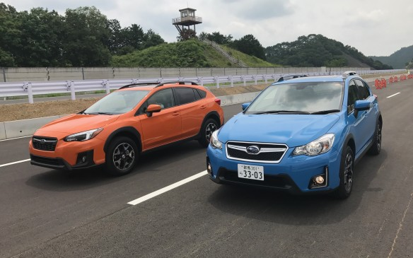 <p>There was no snow on this Japanese mountain, but the gravel road was rutted and pot-holed. We drove both the previous generation, seen here in blue, and the new-generation Crosstreks on the same road to compare the two, and the new model was noticeably quieter and smoother.</p>