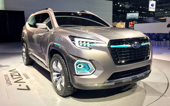 <p>The Subaru VIZIV-7 SUV really stood out on the showroom floor with its C-shaped headlights, sharp angled cut lines and bright colours. We should expect to see a version of this SUV eventually hit the production floor in early 2018.</p>