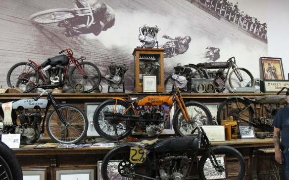 <p>Some bikes on display are important examples of motorcycle sport in America, like these board-track racers.</p>