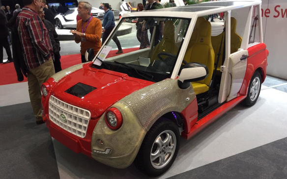 <p>In complete contrast, Swiss company Catecar revealed its anything but graceful Dragonfly concept, sitting on a French-made Beta Epsilon platform. It's a bizarre looking 4-seater Mini Moke-style of vehicle that delivers off-grid electric mobility and features roof-mounted solar panels.</p>