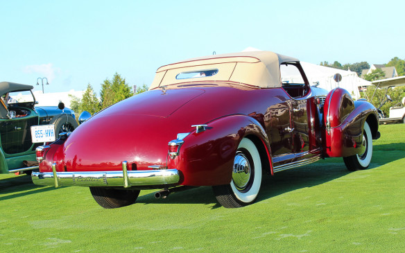 <p>Even rarer was this special Brunn-bodied 1938 Cadillac V-8 Roadster, originally built for a member of the Pulitzer (prize) family. It is believed to be the last custom-bodied Cadillac roadster ever produced.</p>