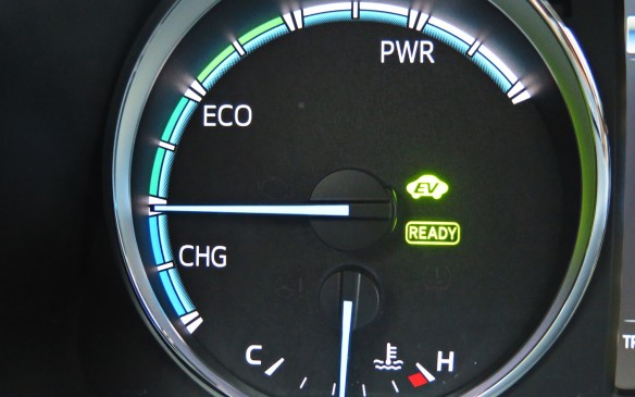 <p>The RAV4's Drive Mode Select allows the choice of Sport, Eco and full EV modes.</p>