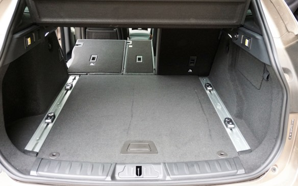 <p>No excuses needed for the F-Pace's cargo hold, which has ample floor acreage and a 40/20/40-split back seat that folds flush with the rear deck, albeit not completely flat. Claimed cargo room behind the second-row seat of 949 L is among the best in the compact segment and compares well with mid-size alternatives. However, space under the deck is almost entirely taken up by the spare wheel.</p>