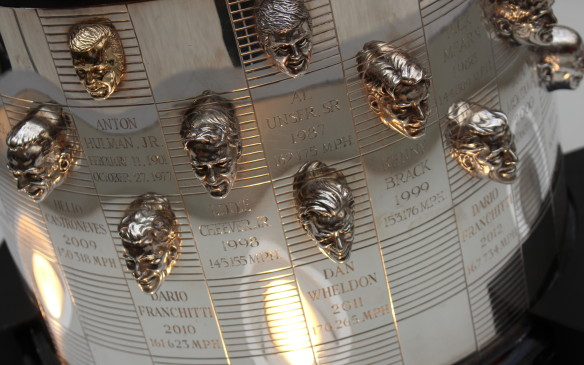 <p>Since 1936, the Indy 500 winner each year has been presented with the Borg-Warner trophy, commissioned by and named for the Borg-Warner Automotive Company, a supplier to the auto industry. The Speedway Museum is the permanent home of the trophy, which carries a bas-relief image of every winning driver's face. Dan Wheldon's image was added to the trophy for the second time in 2011 - he won previously in 2005 – but, sadly, he was killed in a crash during the season-ending race in Las Vegas later that year.</p>