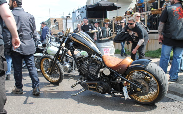 <p>Mostly, everyone was there to see the motorcycles, and every variation was parked somewhere in town. This Harley drew plenty of attention.</p>