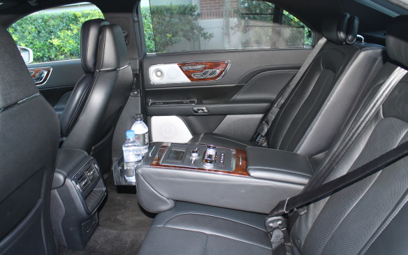 """<p>There's an option for the """"rear-seat package,"""" which costs $5,000, that lets the heated and cooled rear seats recline and change their lumbar support as well as massaging you. There are additional vents and window shades included in the package, plus inflatable seat belts.</p>"""