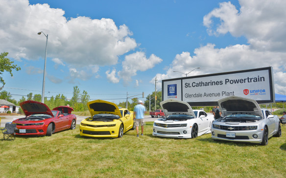 <p>The 2016 Chevrolet Camaro's Canadian unveiling was heldat the General Motors Powertrain facility in St. Catharines, Ontario at theplant'sannual Show N' Shine event. The St. Catharines Powertrain plant manufacturers a range of V-8 and V-6 engines including the 6.2-litre V-8 that powers the new Camaro SS. During the unveiling, Stephen Carlisle, GM Canada President and Managing Director also announced that the company would be investing $13 million in the plant. This is the 17th annual St. Catherines Show N' Shine and featured over 400 'GM powered' classic and contemporary vehicles.</p>