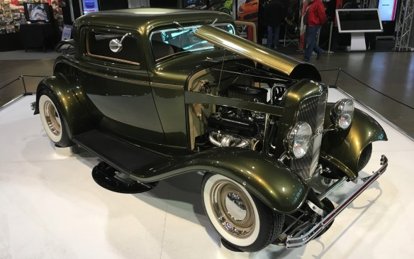 <p>Here's another take on the Ford three-window coupe, this one based on a 1932 model co-owned by Chantal Lafleur and Daniel Guillemette of Laval, Que. It's powered by a 350-cubic-inch Chevy V-8 that's been modified to produce 410 horsepower.</p>