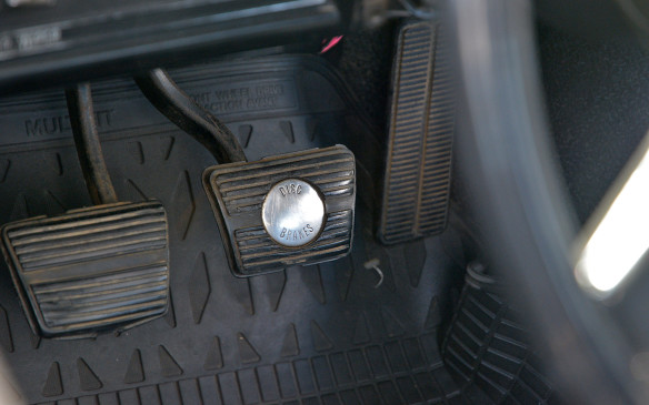 <p>In the late­1960s disc brakes were a technology highlight. As this 1969 Camaro brake pedal proudly proclaims, disc brakes were an available – later a standard – feature for all Camaros from day one. While a base Camaro would cost US $2,621 in '69, the four-wheel power disc brakes add­-on would be a staggering US $500 factory option at the time.</p>