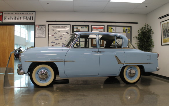<p>The oldest car in the collection is just outside the main exhibit hall. Not only was the Toyopet Crown the first passenger car sold in the U.S. by Toyota, but it was also the first Japanese automobile to be exported to the American mainland.</p>