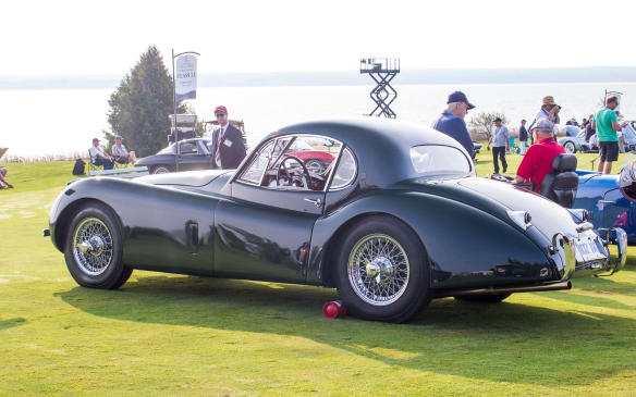 <p>More familiar in appearance was this 1953 Jaguar XK120 Coupe in the European Sports Car class.</p>