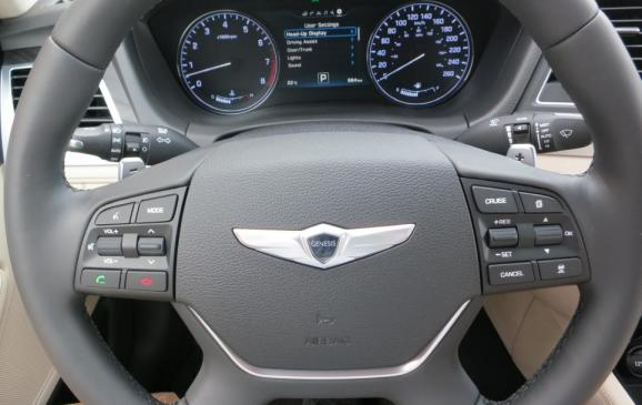 2015 Hyundai Genesis - steering wheel and instrument cluster