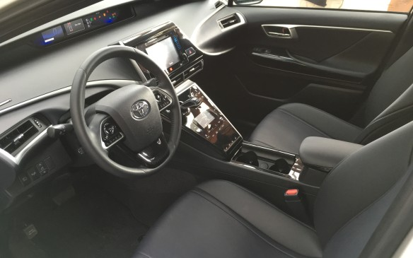 <p>The interior of the Mirai has an abundance of amenities, including a heated, power adjustable steering wheel with built-in multifunction controls, electronic push button start with Smart Key, a premium audio system with navigation, intelligent touch controls for the audio and automatic climate controls and eight-way power adjustable, heated, SofTex front seats with power lumbar support. Acoustic noise-reducing glass has been added to the windshield and front side windows to make the roomy cabin impressively quiet.</p>