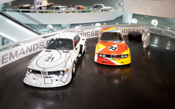 <p>An Art Car exhibition at the BMW Museum in Munich included a pair of BMW 3.0 CSLs – the first two Art Cars. The Frank Stella Art Car, 1976 car is on the left  and the Alexander Calder car on the right.</p>