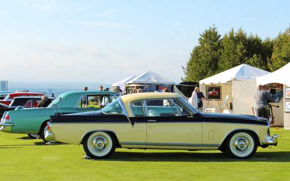 <p>The class for post-war American production cars was one of the highlights of the meet with many of the most iconic cars of the period represented. In the foreground is a 1956 Studebaker Golden Hawk, the immediate successor to the spectacular Raymond Loewy-designed Starliner coupe introduced in 1963.</p>