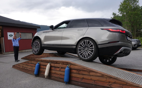 <p>These tall, staggered ramps provided an excellent test of the Velar's aluminium-rich body shell's sheer rigidity. With the vehicle finely balanced on two wheels, the Land Rover experts made us open and shut the driver's door to demonstrate the total absence of flex or torsion in the structure. Not all SUVs can perform the same trick and roll down the ramps unscathed.</p>
